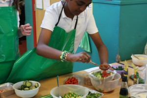Making healthy choices.. all the children were keen to pack their bakes with nutritious vegetables and healthy seafood.