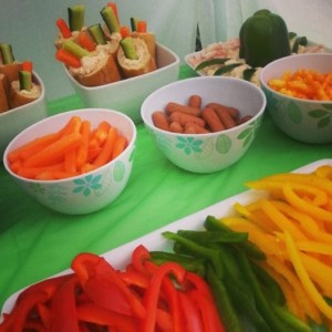 Mini baguettes with smoked salmon dip and carrots/ cucumber sticks.  Smoked salmon dip with prawn 'waves' and an 'octopus' pepper.  Various crudettes to serve.