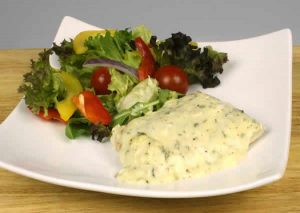 Steam fresh cod with English herb and butter sauce