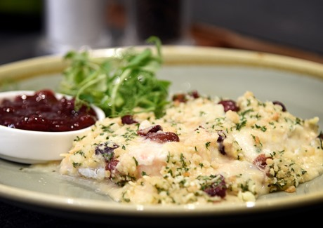 Cod in Wensleydale Sauce with Cranberry and Orange Zest Crumble Topping